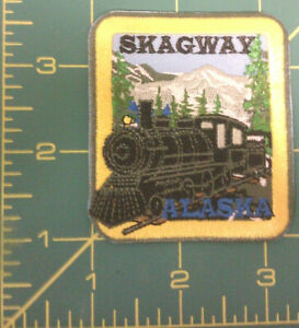 Skagway-Alaska-with-Railroad-Engine-Embroidered-Patch-Ships-Worldwide