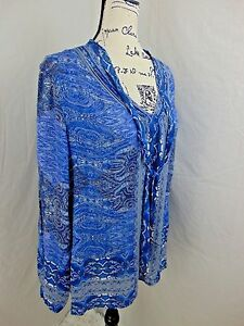 Lucky-Brand-Women-L-Tunic-Top-V-Neck-Pleats-on-Sleeves-NWT