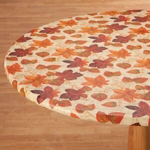 New Fitted Autumn Leaves Vinyl Table Cover Round Oval