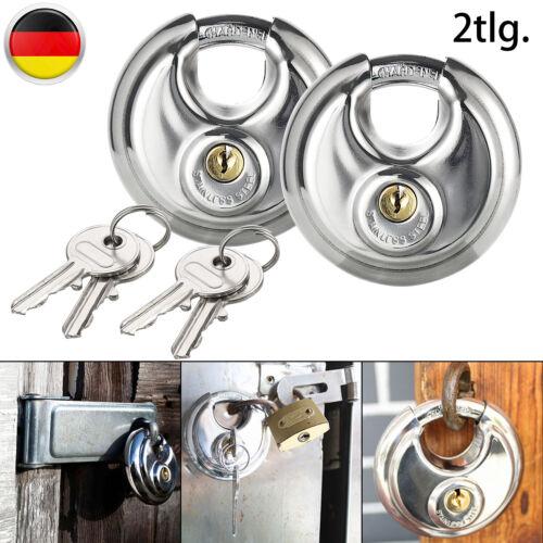 2x Vorhängeschloss Diskusschloss Edelstahl Schloß Schloss Rundschloß+4 Schlüssel