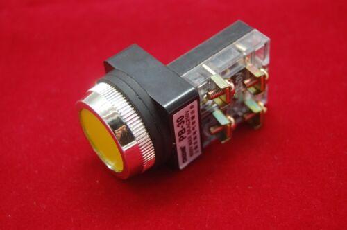 1PC NEW FITS Cutout 30MM Yellow Momentary PUSH BUTTON Switch 1NO//1NC