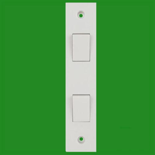 2 Way 2 Gang White Plastic Architrave Horizontal Wall Light Switch 10A