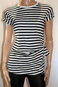 SEED-TEEN-GIRLS-Black-White-Stripe-Short-Sleeve-Twist-Tee-Dress-Sz-8-BNWT-SX44