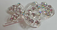 Large Silvertone Butterfly Crystal Barrett Or Clip In Hair Or Many Items