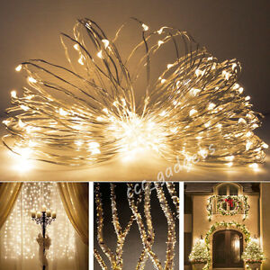5m battery operated silver wire indoor outdoor fairy twinkle lights. Black Bedroom Furniture Sets. Home Design Ideas