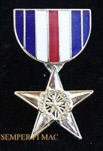 MILITARY SILVER STAR MEDAL RIBBON HAT PIN MINI LAPEL HAT PIN UP US  FORCES