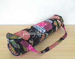 Black-Portable-Kantha-Stitch-Large-Indian-Yoga-Mat-Carry-Bag-With-Shoulder-Strap