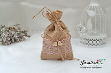 Bespoke 25 x Hessian Favor Bags Wooden Mr Mrs Heart Wedding Coral Lace