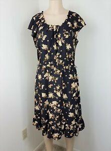 LC-Lauren-Conrad-Dress-Womens-Size-XL-Black-Yellow-Floral-Aline