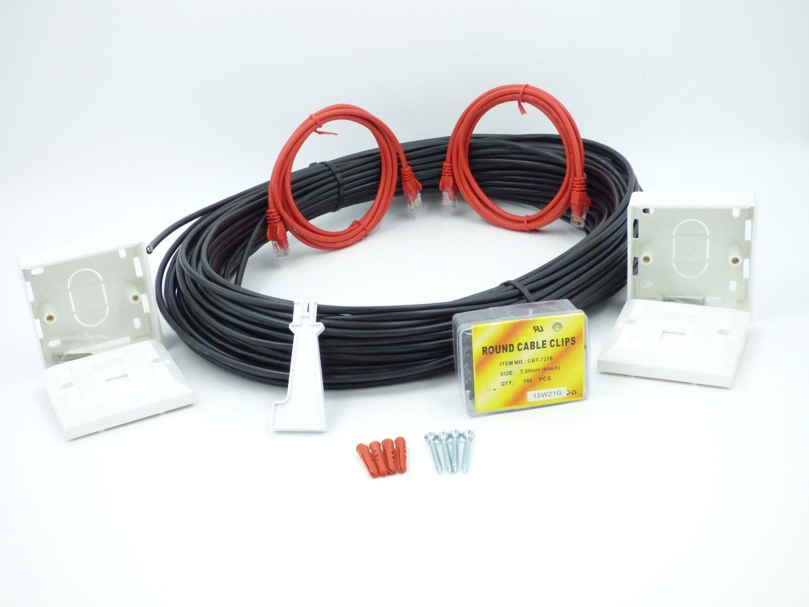 15 MTR Cat6 External Network Extension kit Ethernet cable Kit 100% COPPER
