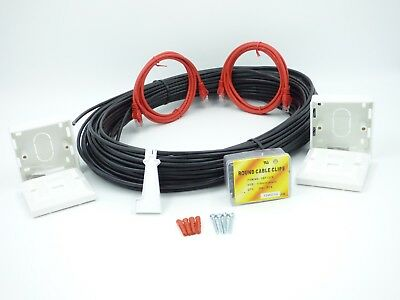 15 M Cat6 Kit Prolunga Esterno Di Rete Cavo Ethernet Kit 100% Rame- Styling Aggiornato