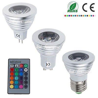 5/10/20x 4W 3W RGB MR16 GU10 E27 LED Spotlight 16 Colors Lamp Bulbs+Free Remote