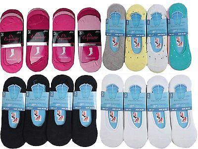 12 para Señoras mujeres chicas manitas Invisible Zapatilla Zapato Bailarina Calcetines del trazador de líneas