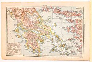 Cartina Geografica Dell Isola Di Creta.Carta Geografica Antica Grecia Greece Creta Candia 1880 Old Antique Map Ebay