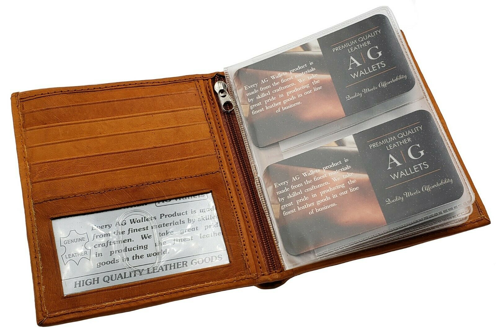 AG Wallets MENS Multi-Card Compact Center Flip Bifold Wallet Removable Inserts
