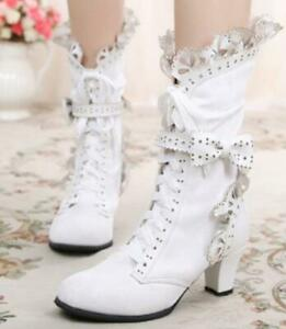 Sweet-Lolita-Womens-Lace-Ankle-Boots-Bow-High-Heel-Lace-Up-Party-Shoes-High