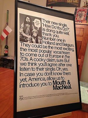 "BIG 11X17 FRAMED MOUTH AND MACNEAL ""HOW DO YOU DO?"" LP ALBUM CD 45 PROMO AD"
