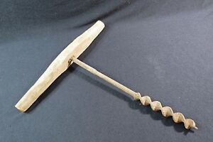 Antique-Primitive-Hand-Tool-Hole-Bore-Drill-Carpentry-Woodworking-Wood-1036B