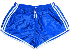 Vintage-039-90s-French-Army-Shorts-Blue-White-Stripes-Silky-Hot-Pants-Retro-Running