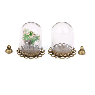 2x Clear Cylinder Glass Pendant Memory Locket Globe Charm Open Bottle Vials