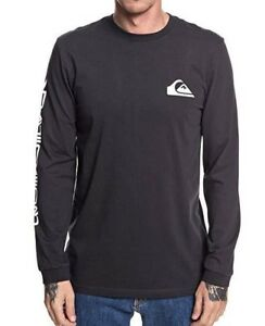 Quiksilver-Mens-camiseta-Quik-Collage-Gris-Negro-Jersey-de-manga-larga-Tee-8W-88-KTAO