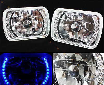 7 X 6 GLASS LENS CHROME SEALED BEAM BLUE LED HEADLIGHT W/ BULB FOR TOYOTA MODEL