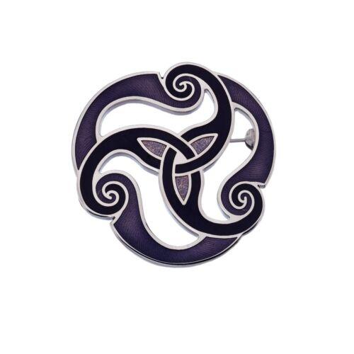 Violet Celtique Triskèle Broche Plaqué Argent Cadeau Tout Neuf
