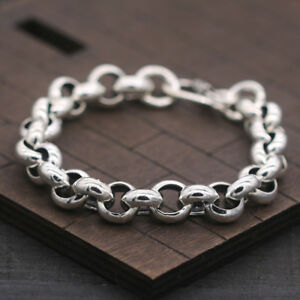 Pure-925-Sterling-Silver-Bracelet-Classic-Rolo-Link-Bracelet-7-87inch-For-Men-039-s