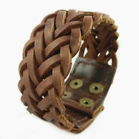 Men Women's Wide Brown Cowhide Leather Braided Mesh Surfer Bracelet Wristband