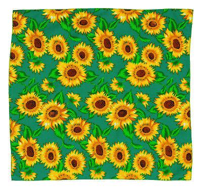 k128 Sonnenblume Grün Tuch Blumen Motiv Kopftuch Bandana Halstuch Freizeit Sport