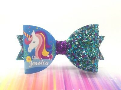 """ANY NAME Unicorn Hair Bow with Blue Glitter 1 X Personalised Hair Bow 3.5"""""""
