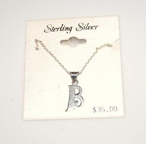 Vintage Sterling Silver Initial B Pendant
