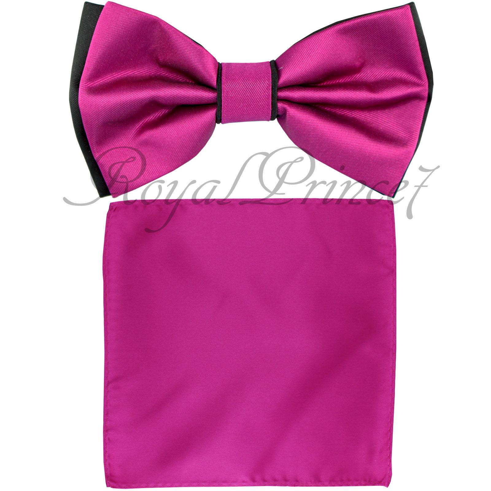 Wedding Black fuchsia vorgebunden Bow Tie & Pocket Square Handkerchief Two