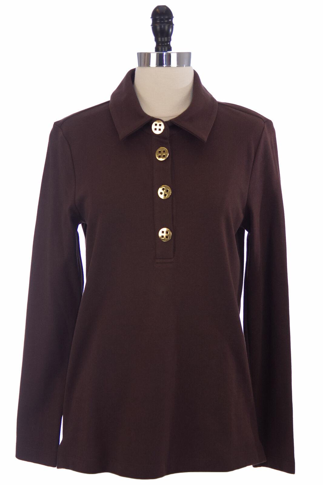 Elizabeth Mckay Schokolade Baumwollmischung Langärmlig Polohemd 7053 Nwt