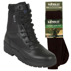 PATROL-COMBAT-BOOTS-BLACK-50-50-LEATHER-TACTICAL-CADET-MILITARY-WITH-SOCKS
