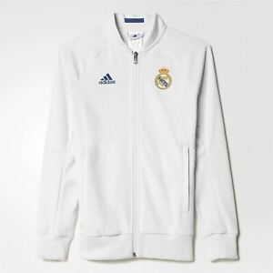 Details about adidas Real Madrid Anthem Jacket Juniors White Football Soccer Track Top