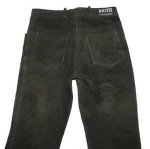 034-Akito-034-Men-039-s-Leather-Jeans-Biker-Leather-Trousers-IN-Black-IN-W34-034-L34-034