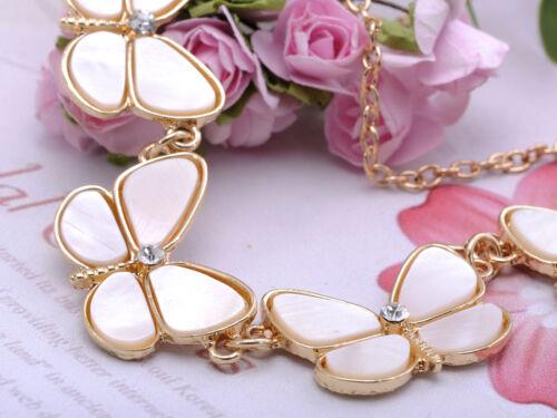 Mignon Mini Papillon Blanc Shell Wing simple Rhin Tone Golden Tone Collier