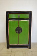Green & Black Chinese Wooden Storage Side End Table w/Drawer & 2 Doors 04-12d