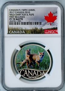 2017-CANADA-NGC-FIRST-RELEASES-PF70-MATTE-SILVER-WILD-SWIFT-FOX-amp-PUPS-S-10