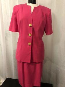 Oleg-Cassini-Women-039-s-Suit-Pink-Lined-Vintage-Skirt-Suit-Split-Size-12-amp-10