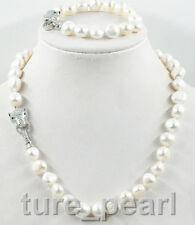 NEW 12-13mm south sea white baroque pearl necklace bracelet set leopard Clasp