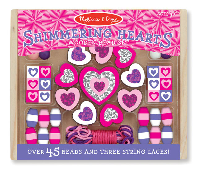 Fun!Melissa & Doug Shimmering Hearts Wooden Bead Set # 9495