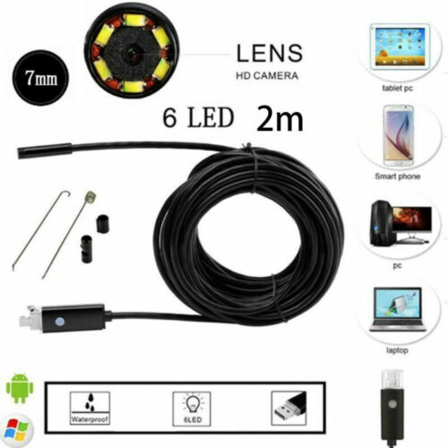 7mm 1M-10M Endoscope Endoskop 6 LED Inspektionskamera für Android Handy Neu DE
