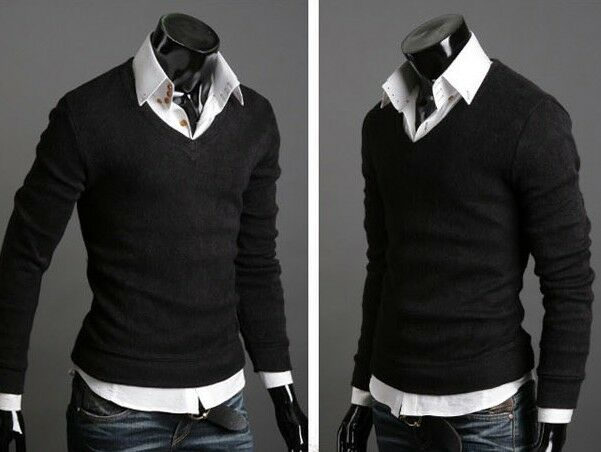 Fashion New Men Slim V-neck Pullover Casual Sweater Bottoming Jumper Cardigans