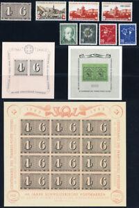SCHWEIZ-1943-Jahrgang-komplett-tadellos-postfrisch-mit-Block-8-10-Mi-297
