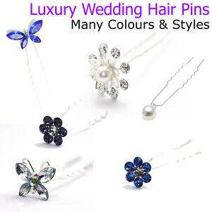 PERNI-di-capelli-sposa-donna-Accessori-Da-Sposa-Pezzi-Diamante-Perla-Fiore-Clip
