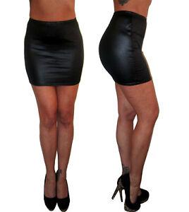 Womens-Mini-High-Waist-Stretch-Black-Skirt-Leather-Look-PVC-Size-6-8-10-12-14-16