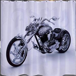 Image Is Loading Dragon Chopper Motor Bike Bathroom Shower Curtain 180cm