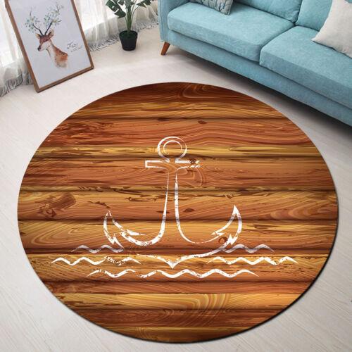 Round Floor Mat Kids Bedroom Living Room Area Rugs Wooden Planks Sea Wave Anchor